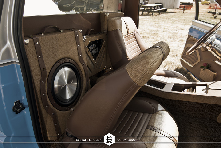 interior themed s-10 chevy custom sound system subwoofers truck behind seats  at camp n drag 2012 seen on klutch republik