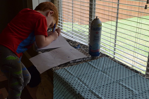Working with my son on his new quilt