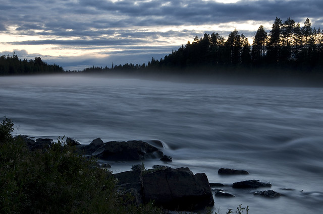 Torne River with night-mist