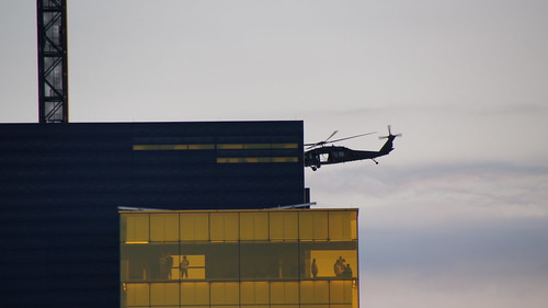 Blackhawk Helicopters on Military Training Exercise over the Downtown Minneapolis Riverfront