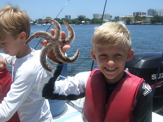 Caden finds a cool starfish.