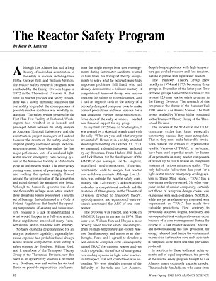 The Reactor Safety Program