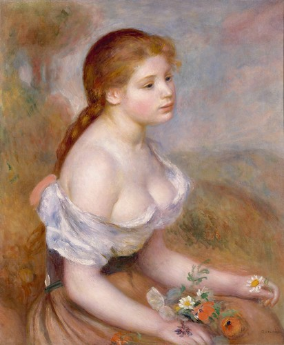 Auguste Renoir - A Young Girl with Daisies [1889] by Gandalf's Gallery