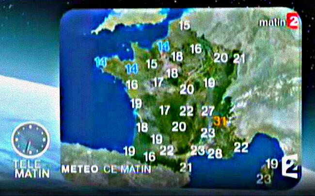 carte des températures en France à 6 heures du matin le 23 juillet 2009 météopassion