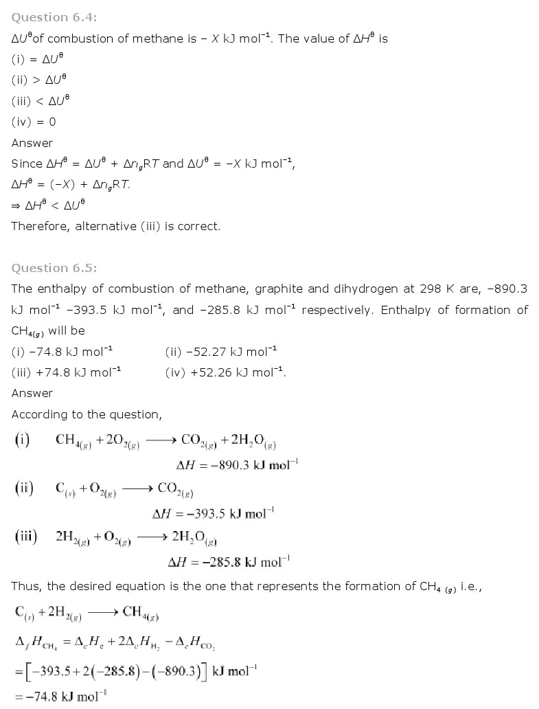 Chemistry Book Ch 6 Thermodynamics Class 11 NCERT Solutions