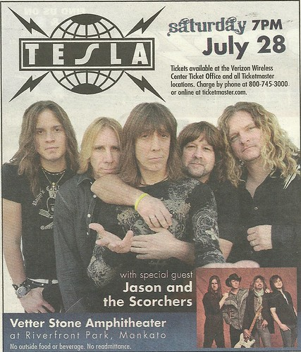 07/28/12 Tesla/ Jason and the Scorchers @ Vetter Stone Amphitheater at Riverfront Park, Mankato, MN