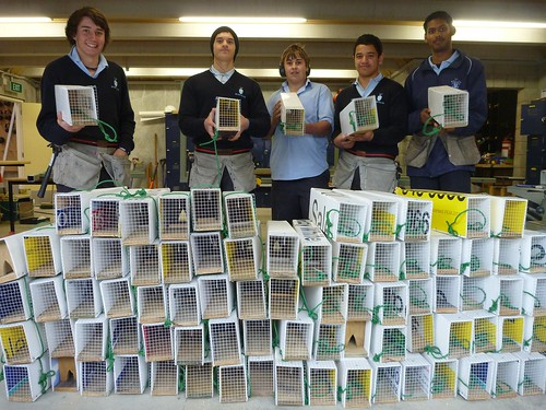 Nelson College Students with the traps they built