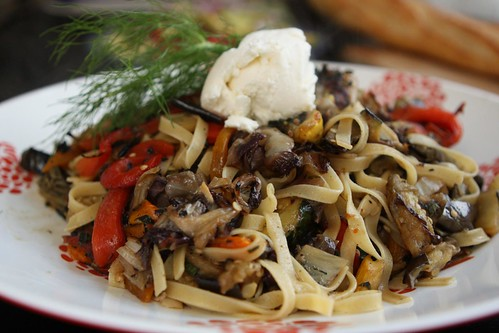Grilled Vegetable Pasta with Ricotta and Basil