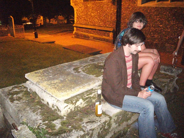 drinking in a graveyard