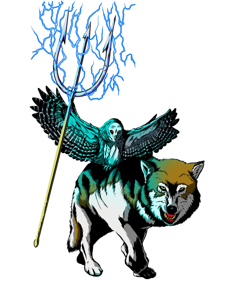 owl trident wolf