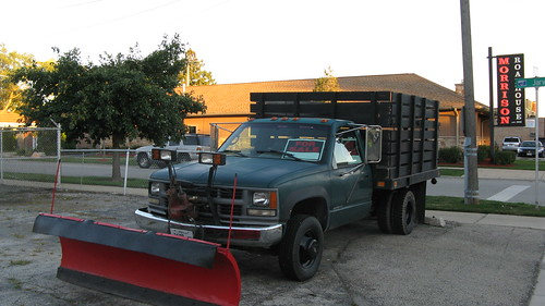 Used 1995 Chevrolet flatbed / stakebody truck with snowplow attached.  Niles Illinois.  August 2012. by Eddie from Chicago