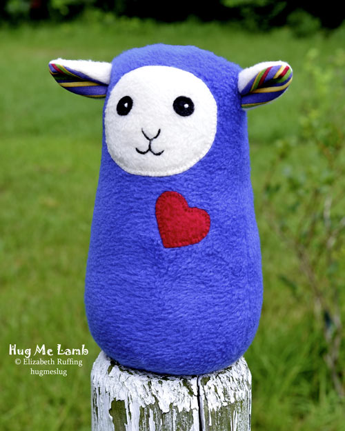 Royal Blue Plush Stuffed Animal Art Toys, Hug Me Lambs by Elizabeth Ruffing