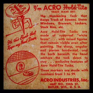 here's the back of the box. Acro Hold-Tite numbering tacks. 1948.
