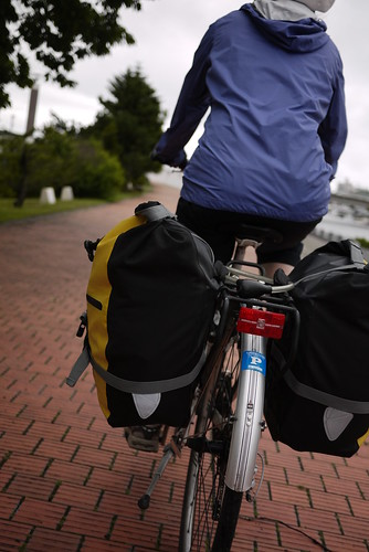 Cycling out of Abashiri along the Abashiri River (Abashiri, Hokkaido, Japan)