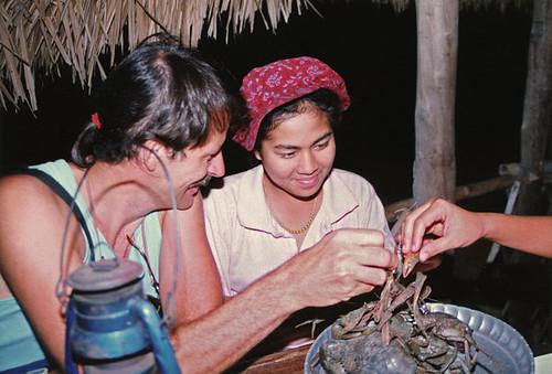 Rah & Al with a misbehaving crab c. 1993