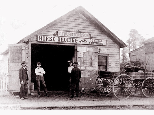 T. Thurston & Son, Horse Shoeing and General Smithing, Great Neck, Long Island, New York, about 1899