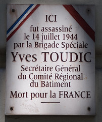 Photo of Yves Toudic white plaque