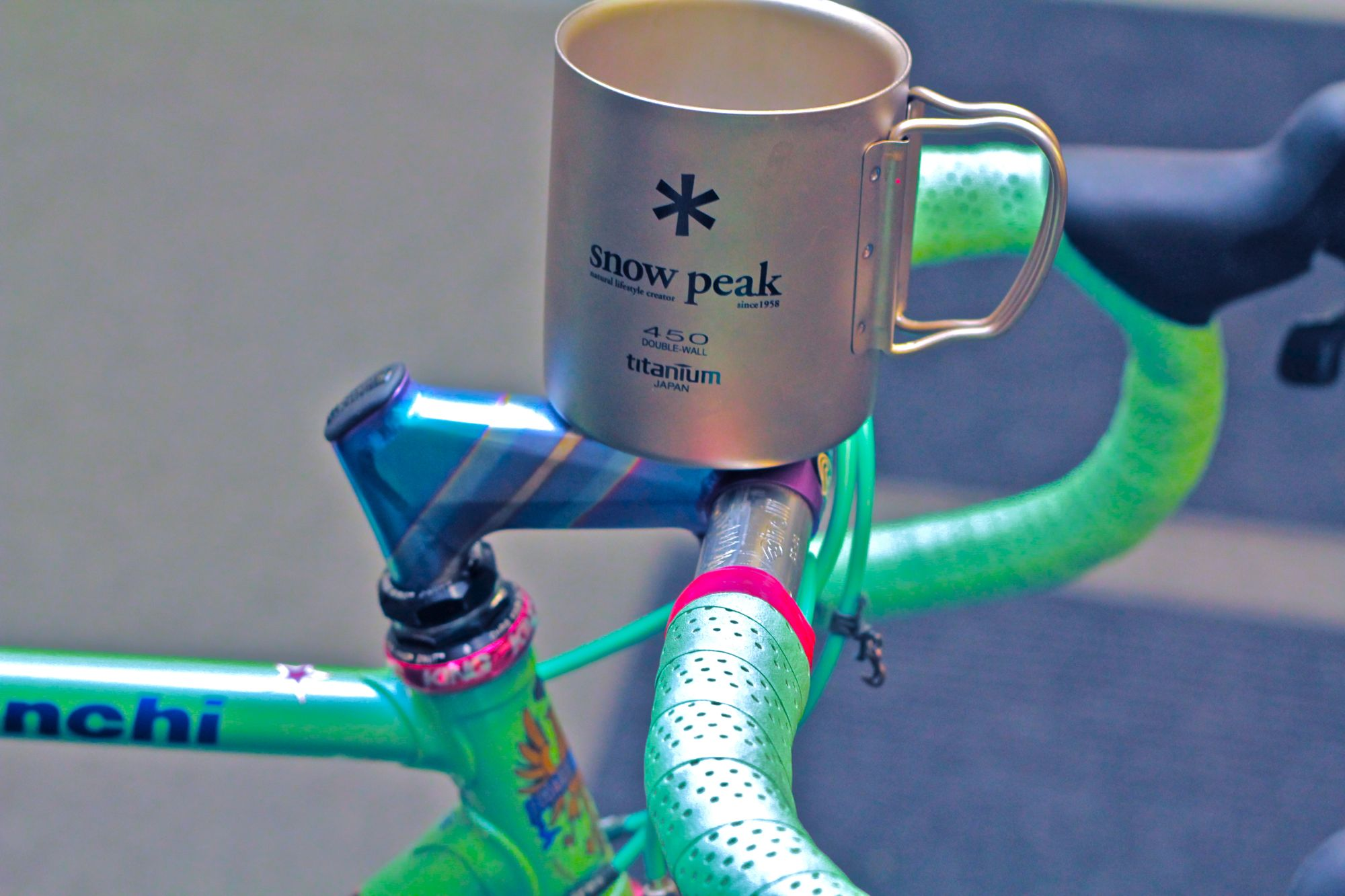 Cinelli Grammo Art stem & Snow Peak titanium mug