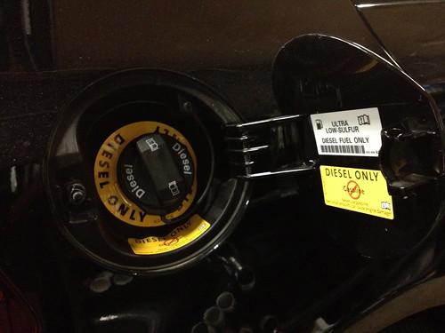 VW Golf TDI fuel door after stickers