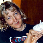 Carol J Adams with Snowball