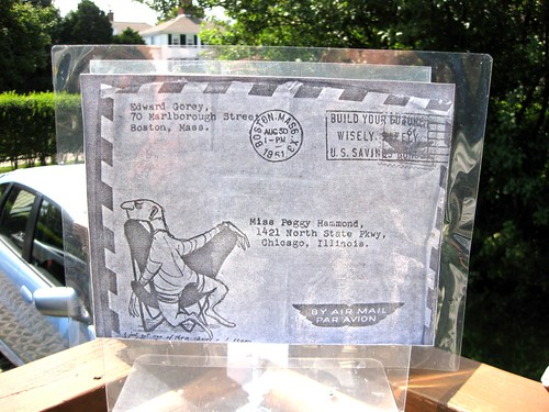 Reproduced Gorey air mail envelope art