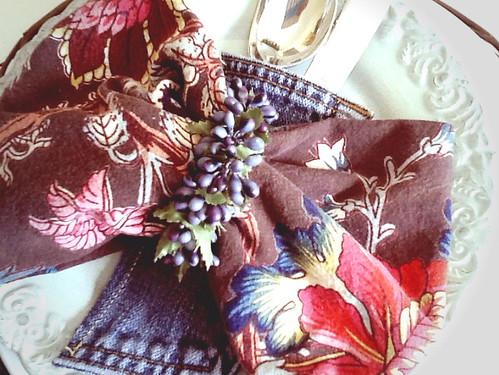 Brown floral napkin and denim silverware holder