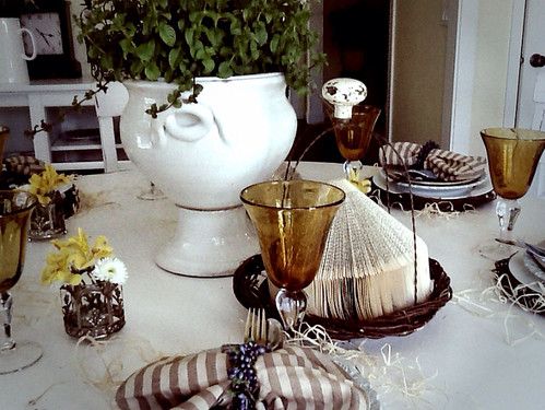 gold goblets, striped napkins, white plates, tablescape