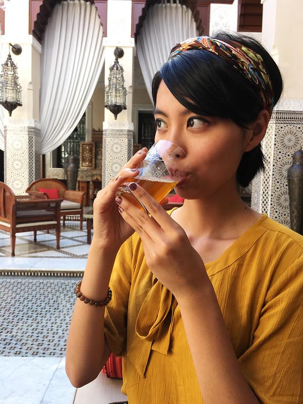 Drinking tea at Royal Mansour