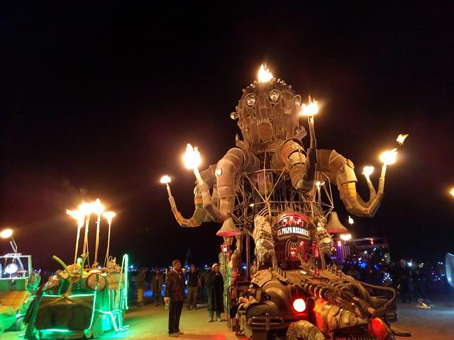 The flames of El Pulpo Mechanico 7, Black Rock City, Burning Man 2016, Black Rock Desert, Nevada, USA