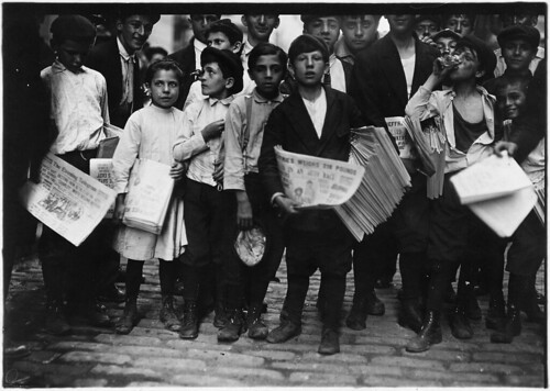 Newsboys and newsgirl. Getting afternoon papers. New York City, July 1910