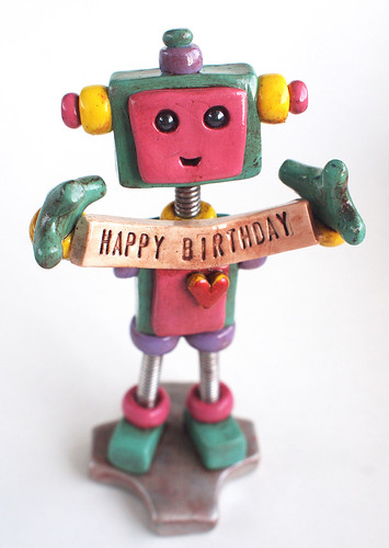 Teal Tam Robot Birthday Cake Topper by HerArtSheLoves