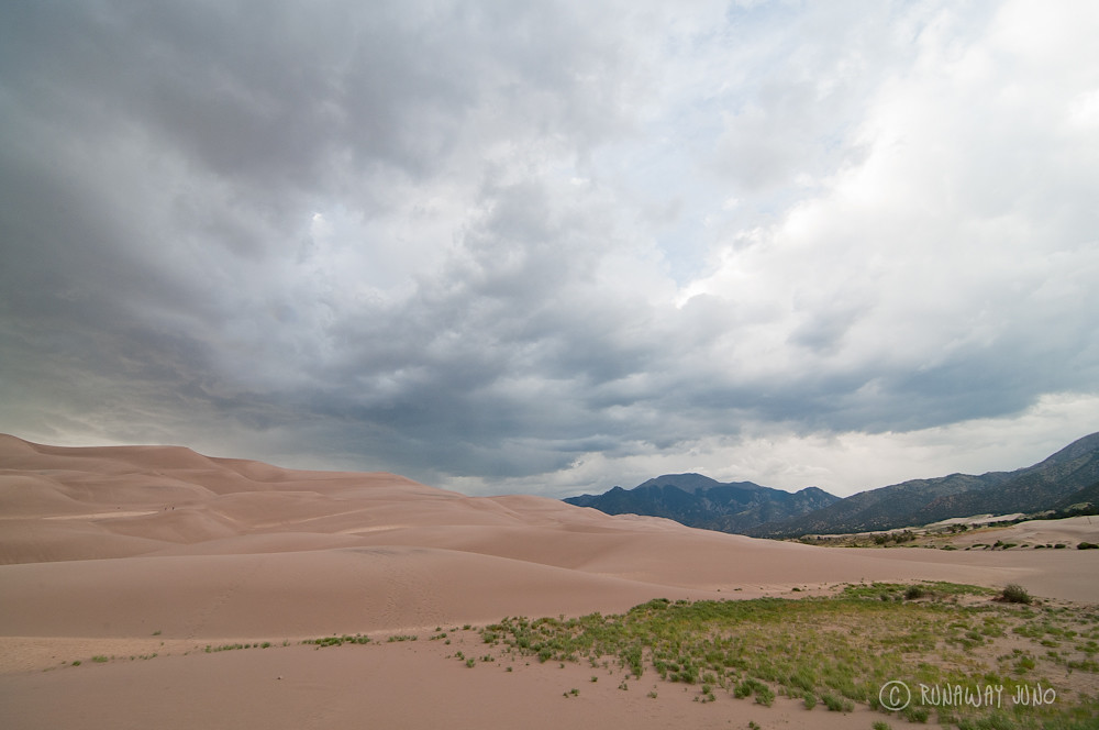 The Great Sand Dunes and the surrounded mountains