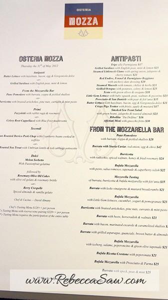osteria mozza - menu