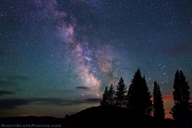 Milky Way stars over Signal Mountain summit