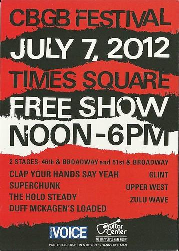 07/07/12 CBGB Festival Free Stage @ Times Square, NYC, NY (Handbill - reverse)