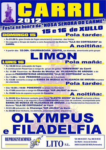 Vilagarcía de Arousa 2012 - Festas do Carme en Carril - cartel