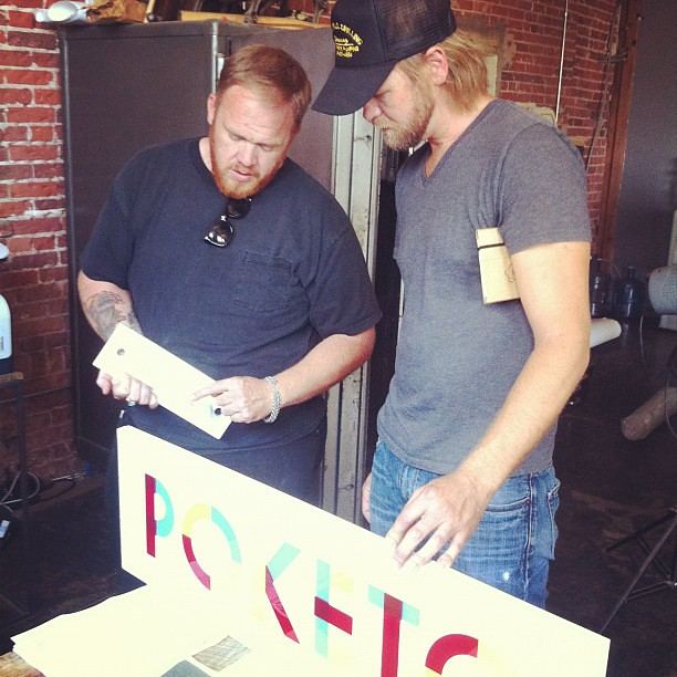 The dudes, working out the Poketo store sign details ...#districtmillworks #delta