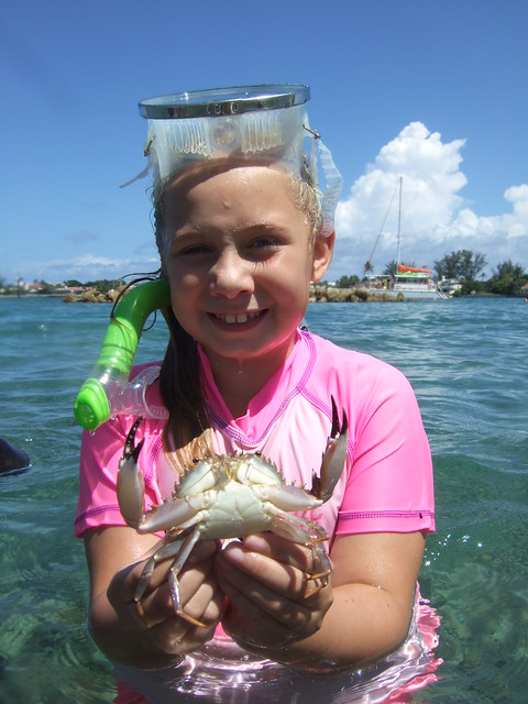 Madison catches a nice swimming crab.