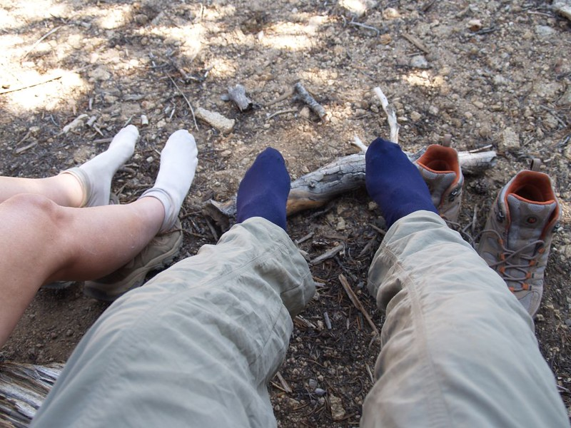 Cooling and drying our hot feet in the shade along the San Bernardino Peak Trail