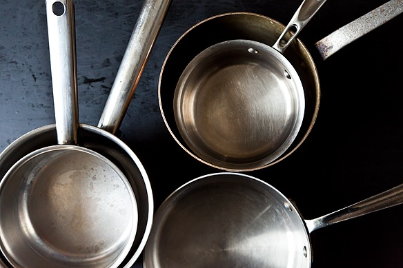 Stacked saucepans