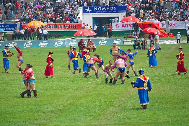 Naadam (Наадам) wrestling by CC user kodok on Flickr