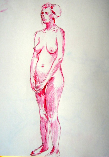 Standing pose in dark rose pencil