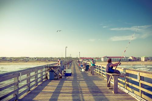 beach pier fishing wave northcarolina oakislandpier