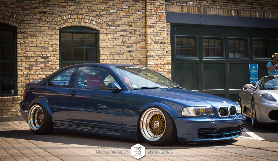 bluw bmw e46 coupe brown bbs rs big step lip  euroworks 6 2012 3pc wheels static airride low slammed coilovers stance stanced hellaflush poke tuck negative postive camber fitment fitted tire stretch laid out hard parked seen on klutch republik