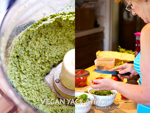 Kale Pepita Pesto - Bright pesto made with seeds; add kale and some fresh herbs and you've got a delicious spread that's easy to make and healthy.