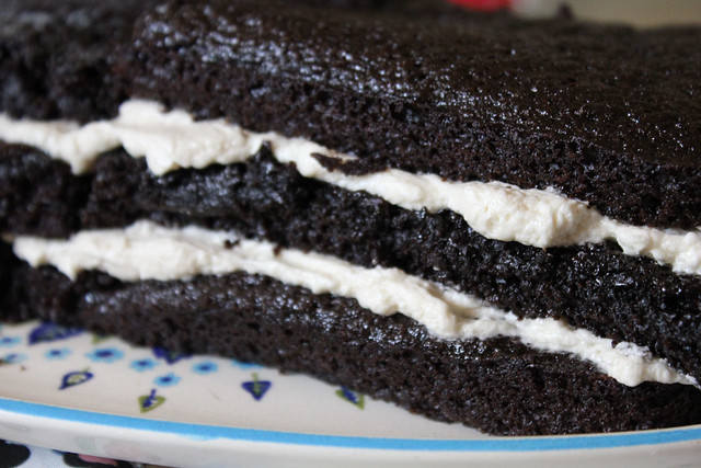 Chocolate Cake and Cooked Vanilla Frosting