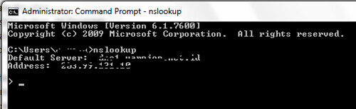 command prompt nslookup exe