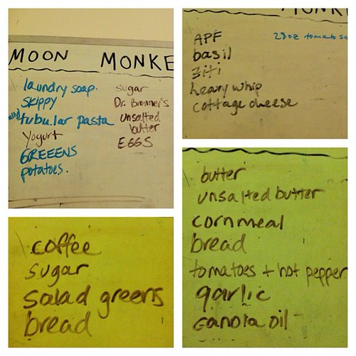 Another Frametastic collage: grocery lists from our whiteboard. Snapping a pic is faster than copying them down.