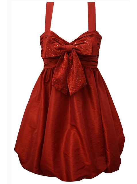 Red Sequin Bow Evening Dress With Puff Skirt