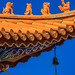 Mythical creatures on Chinese temple roof